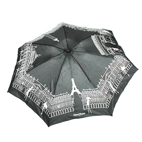 parapluie pliant noir motif paris pour femme parapluie chantal thomass pas cher rue du parapluie. Black Bedroom Furniture Sets. Home Design Ideas