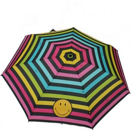 parapluie pliant smiley bandes multicolores