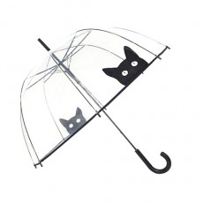 Parapluie transparent avec un chat