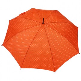 Parapluie canne orange pois blancs