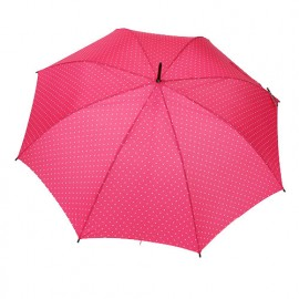 Parapluie canne rose pois blancs