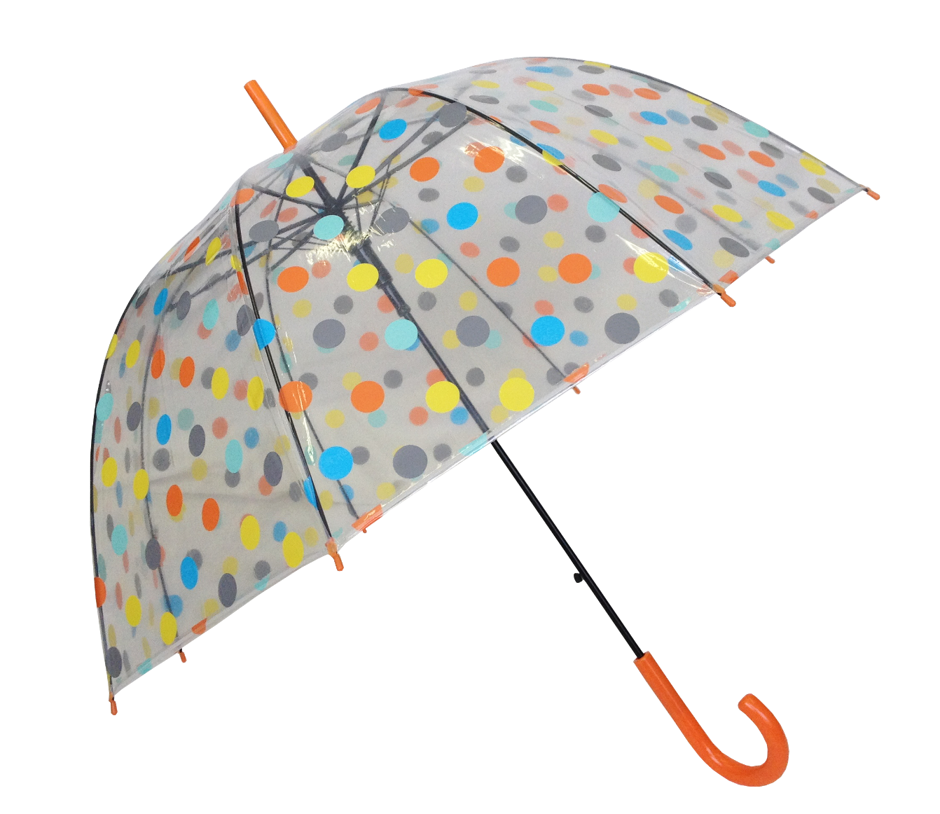 Parapluie transparent à pois multicolores