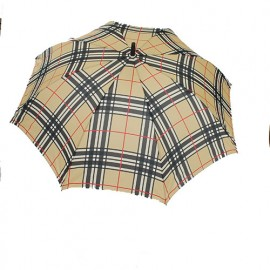 Grand parapluie golf écossais automatique fond marron