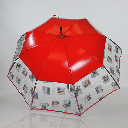 Parapluie semi transparent rouge Paris Londres New York