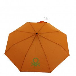 Parapluie automatique pliant 3 sections orange vif Benetton