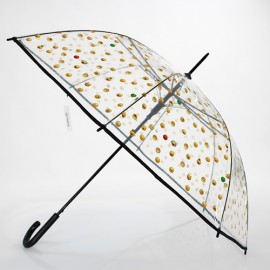 Grand parapluie transparent emoticones noir