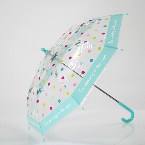 Parapluie enfant transparent à pois multicolores