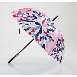 Parapluie canne pétales de fleurs roses made in france