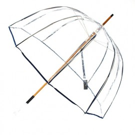 Parapluie transparent cloche made in france ganse bleue