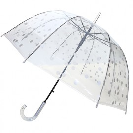 Parapluie cloche transparent pois argents