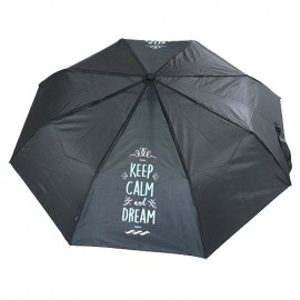 Parapluie pliant noir keep calm and dream