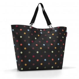 sac shopping XL pliable noir et pois multicolores