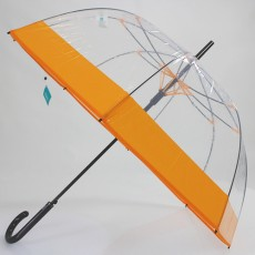 Parapluie dôme transparent orange mandarine