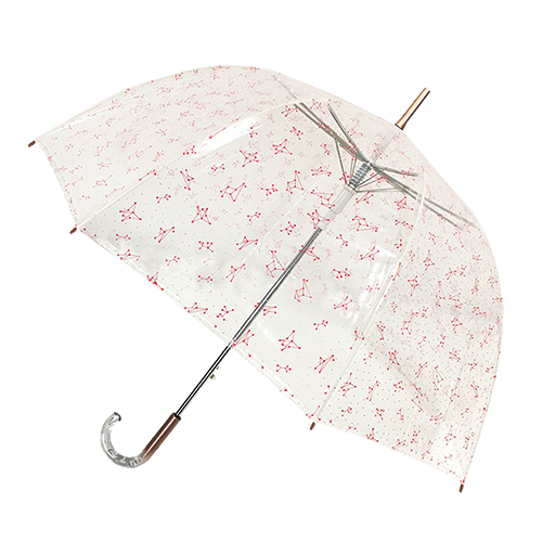 Parapluie transparent cloche constellation rose