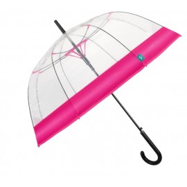Parapluie dôme transparent rose vif